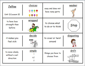 """Journeys 2nd Lesson 10 Vocab Dominoes for """"Jellies: The Li"""