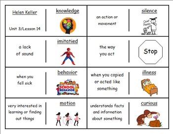 """Journeys 2nd Lesson 14 Vocaulary Dominoes for """"Helen Keller"""""""