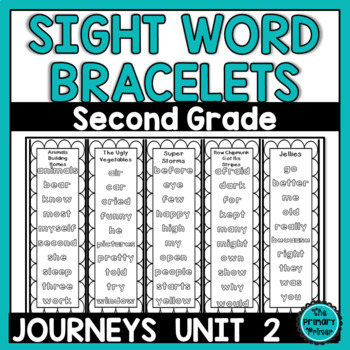 Journeys SECOND Grade Sight Word Bracelets/Bookmarks:  Unit TWO