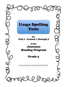 Journeys Grade 4 Spelling Tests for UNIT 1