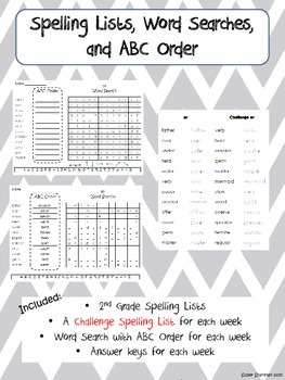 Journeys Spelling Word Searches and ABC Order Second Grade