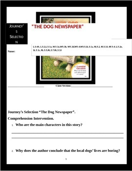 "Journey's ""The Dog Newspaper"" Comprehension & Vocabulary W"
