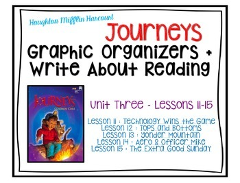 Journeys - Third Grade - Lessons 11-15 Graphic Organizers