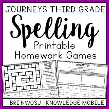 Journeys Third Grade - Printable Homework Games