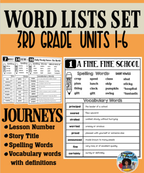Journeys Third Grade Word Lists for Stories 1-30