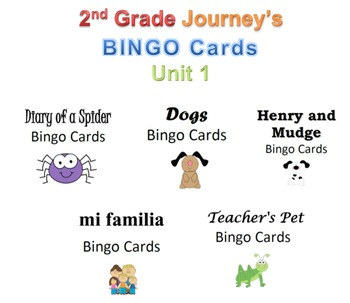 Journey's Grade 2 Unit 1 BINGO Cards