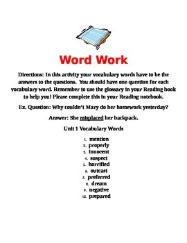 Journeys Unit 1 Vocabulary Word Work