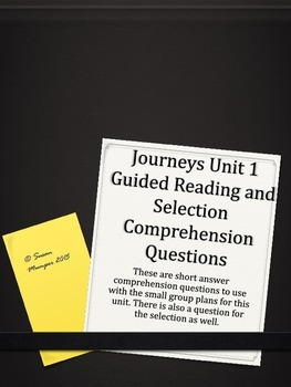 Journeys Unit 1 Written Comprehension for guided reading &