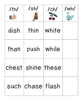 Journeys Unit 2 Lesson 8 th, ch, sh, wh Word Sort