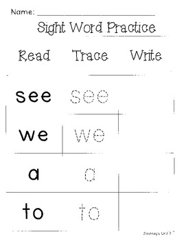 Journeys Unit 2 Sight Word Review (2011 edition)