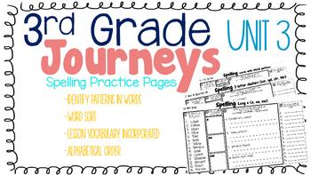Journeys: Unit 3 3rd Grade Spelling Practice