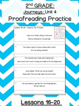 Journeys Unit 4 Proofreading Practice 2nd grade