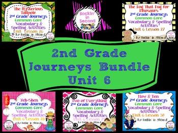 Journeys Unit 6 Bundle Spelling & Vocabulary Activities 2nd grade
