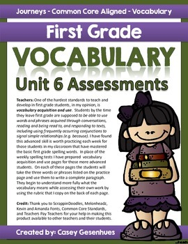 Journeys Vocabulary Acquistion and Use (Unit 6)