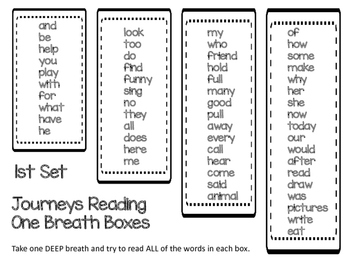 Journeys Vocabulary One Breath Boxes