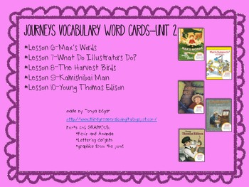 Journeys Vocabulary Words-Unit 2