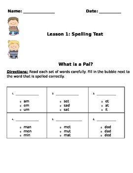Journeys What is a Pal? Multiple Choice spelling test.