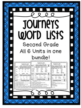 Journeys Word Lists Bundle - ALL Units