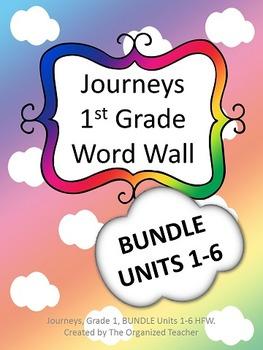 Journeys Word Wall 1st Grade Bundle! Units 1-6 -  Cloud Theme