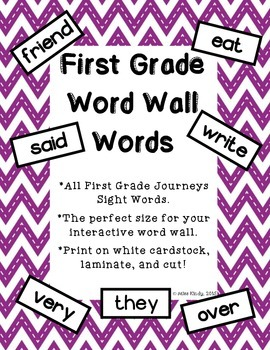 Word Wall Word Cards 1st Grade: High Frequency Vocabulary