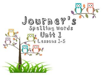Journeys spelling words Unit 1 lessons 1-5