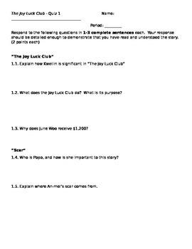 Joy Luck Club Quizzes - Full Set (8)