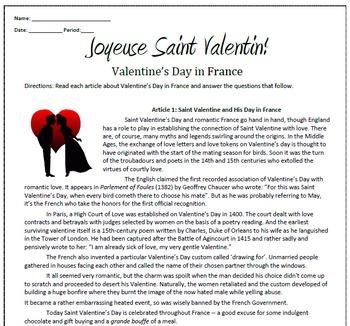Joyeuse Saint Valentin! Valentine's Day in France Sub Plan