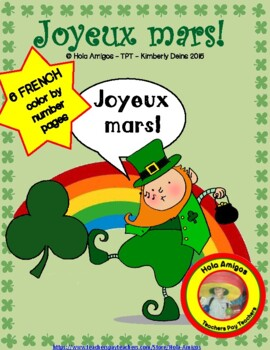 Joyeux mars! - Happy March, four French color by number ac