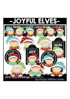 Joyful Elves Clipart Collection