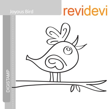 Joyous bird (digital stamp, coloring image) S002, bird on