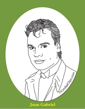 Juan Gabriel Realistic Clip Art, Coloring Page, and Poster