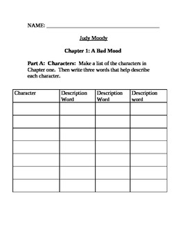 Judy Moody Chapter One Comprehension Questions