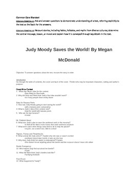 Judy Moody Saves the World Common Core