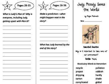 Judy Moody Saves the World Trifold - Journeys 3rd Grade Un
