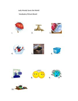 Judy Moody Saves the World Vocabulary PictureBoard