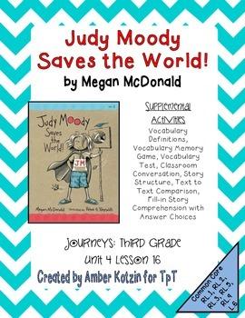 Judy Moody Supplemental Activities 3rd Grade Journeys Unit