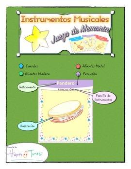 Juego de Memoria Instrumentos Musica en Español Spanish Mu