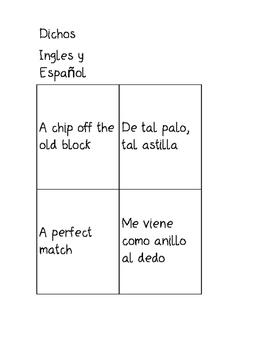 Juego de mas de 50 Dichos (Match game of  50+ Idioms/Adages)