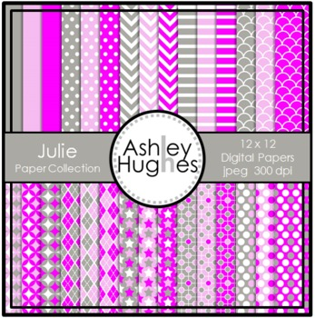 Julie Paper Collection {12x12 Digital Papers for Commercial Use}