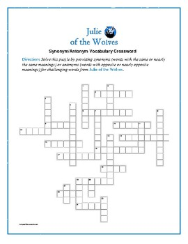 Julie of the Wolves: Synonym/Antonyn Crossword--Pair with