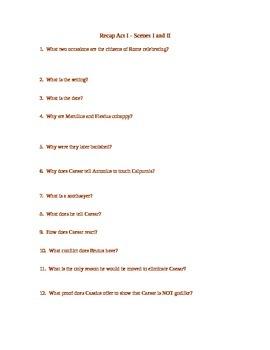 Julius Caesar Act I - Scs 1-2  Study Guide