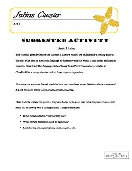 Julius Caesar - Act III Activity Pack