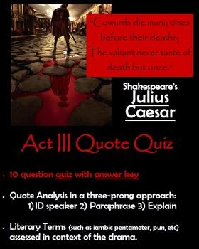 Julius Caesar - Act III Quote Quiz