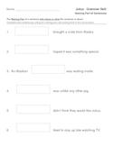 Julius - Cut and Paste Grammar Skills - Naming Parts of Sentences