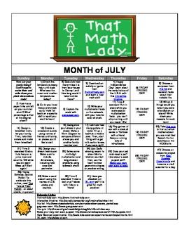 July 2013 Summer Activity Calendar
