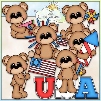 July 4 Patriotic Bears Clip Art - July 4 Clip Art - Patrio