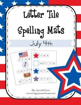 July 4th Letter Tiles Spelling Mat