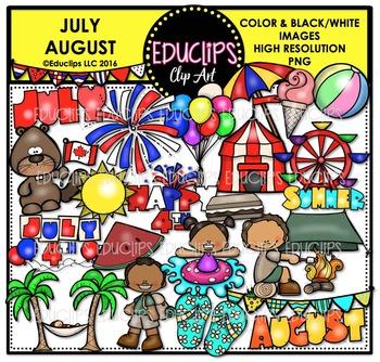 July August Clip Art Bundle