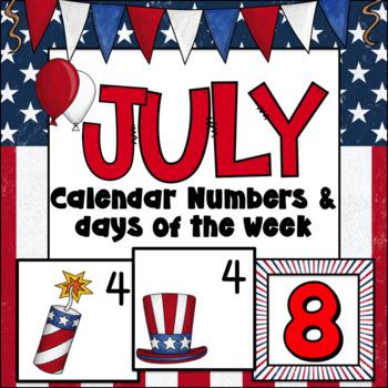 July Calendar Numbers