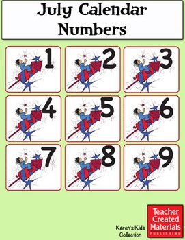 July Calendar Numbers by Karen's Kids (Digital Download)